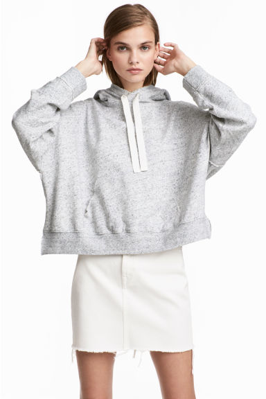 Wide hooded top - Light grey marl -  | H&M GB