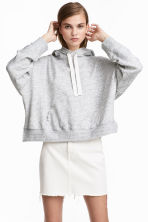 Wide hooded top - Light grey marl - Ladies | H&M 1