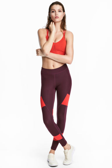 Sports tights - Burgundy - Ladies | H&M CN