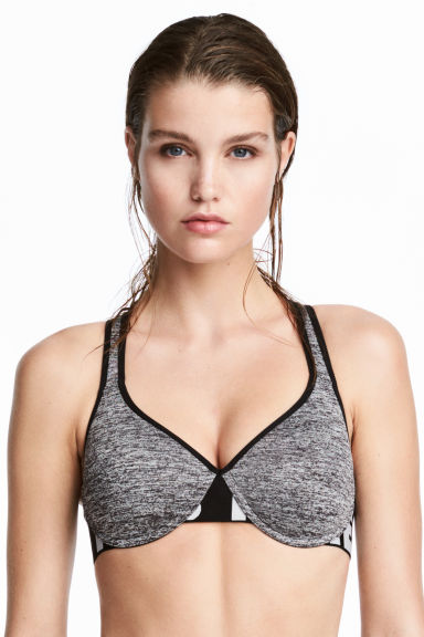 Sports bra Medium support - Light grey marl - Ladies | H&M IE