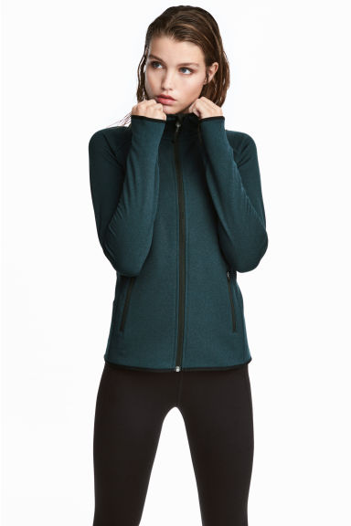 Fleece jacket with a hood - Dark turquoise marl - Ladies | H&M 1