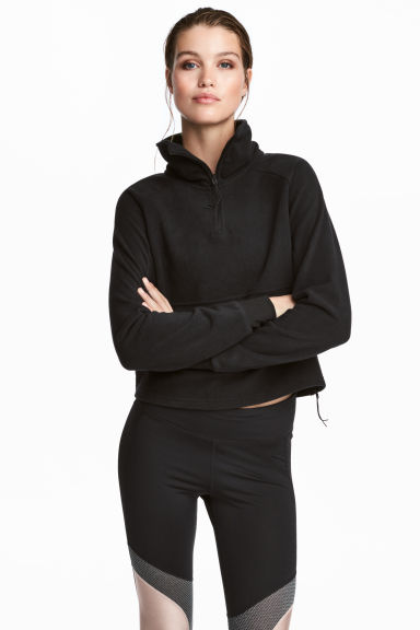 Fleece sports top - Black - Ladies | H&M 1