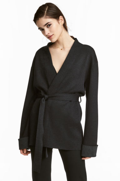 Cardigan with a tie belt - Dark grey - Ladies | H&M