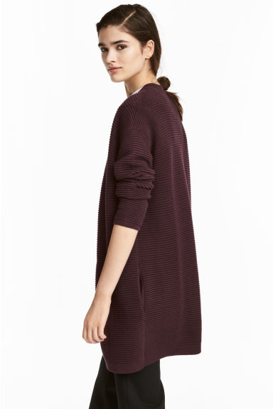Rib-knit cardigan - Burgundy - Ladies | H&M