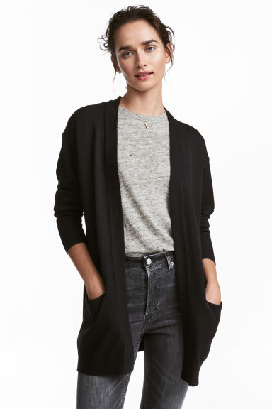 Knitted cardigan - Black -  | H&M