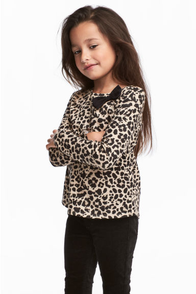 Long-sleeved top - Beige/Leopard print - Kids | H&M CN 1