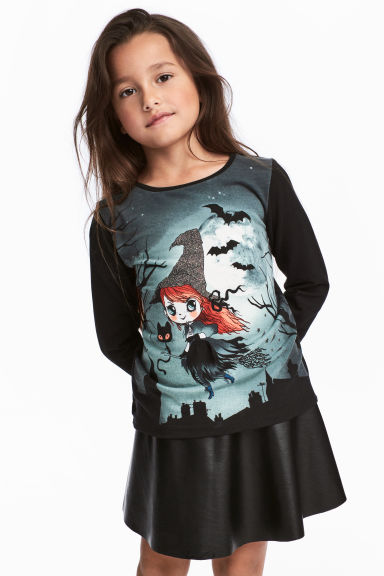 Printed jersey top - Black/Witch - Kids | H&M CN 1