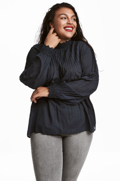 H&M+ Blouse with pin-tucks - Dark grey - Ladies | H&M 1