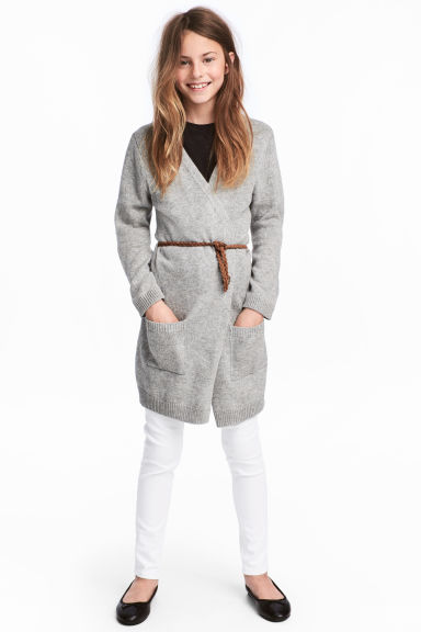 Knitted cardigan with a belt - Grey marl -  | H&M CN