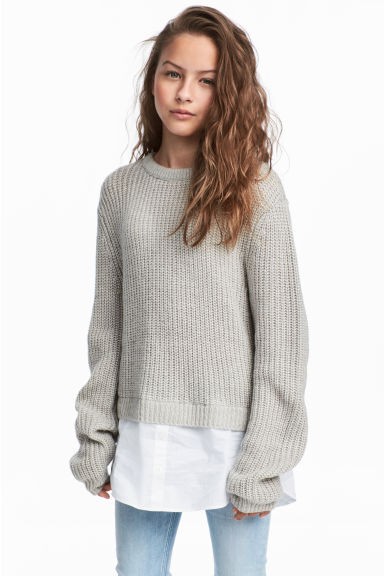 Ribbed jumper - Grey marl/White - Kids | H&M 1