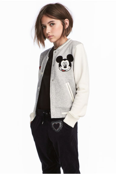 Baseball jacket - Grey/Mickey Mouse - Kids | H&M 1