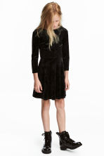 Long-sleeved velour dress - Black - Kids | H&M CN 1