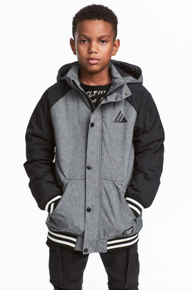 Padded jacket - Grey marl/Black - Kids | H&M GB