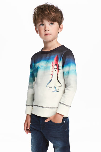Printed sweatshirt - White/Rocket -  | H&M 1