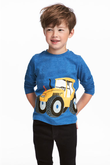 Long-sleeved jersey top - Dark blue marl - Kids | H&M 1