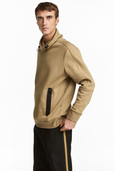 Funnel-collar sweatshirt - Dark beige - Men | H&M IE