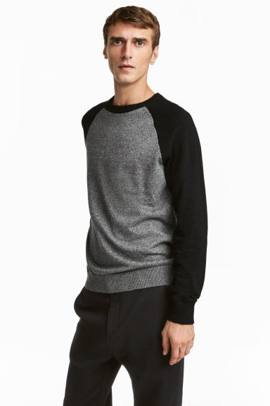 Fine-knit cotton jumper - Dark grey/Black - Men | H&M 1