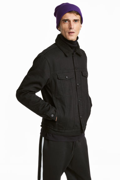 Pile-lined denim jacket - Black - Men | H&M 1