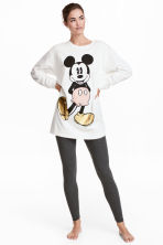 Lounge set top and leggings - White/Mickey Mouse - Ladies | H&M 1