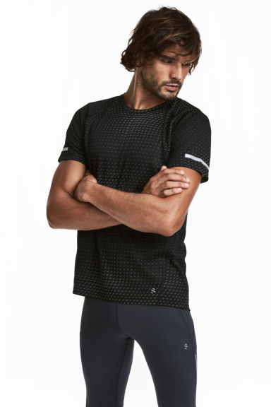 Short-sleeved running top - Black/Grey patterned - Men | H&M