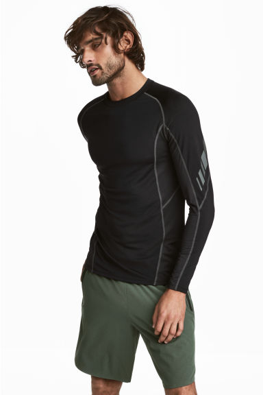 Long-sleeved sports top - Black - Men | H&M