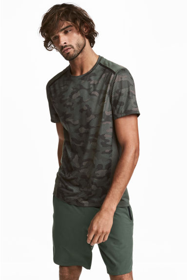 Short-sleeved sports top - Khaki green/Patterned - Men | H&M 1