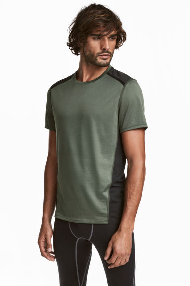 Short-sleeved sports top - Khaki green/Black - Men | H&M CN 1