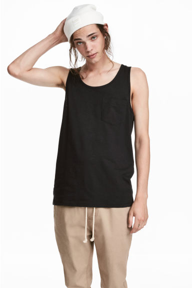 Vest top with a chest pocket - Black -  | H&M