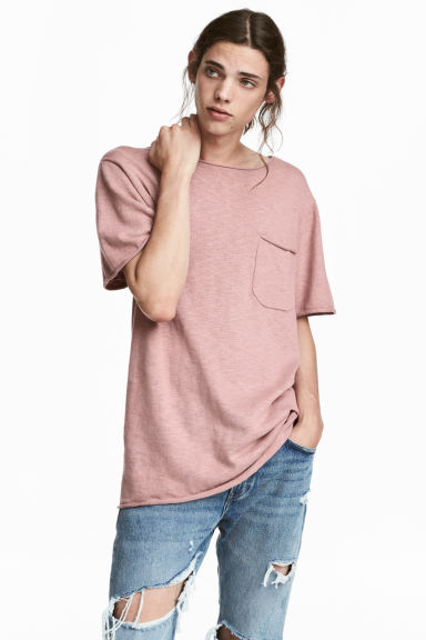 Fijngebreid katoenen T-shirt - Oudroze - HEREN | H&M BE 1