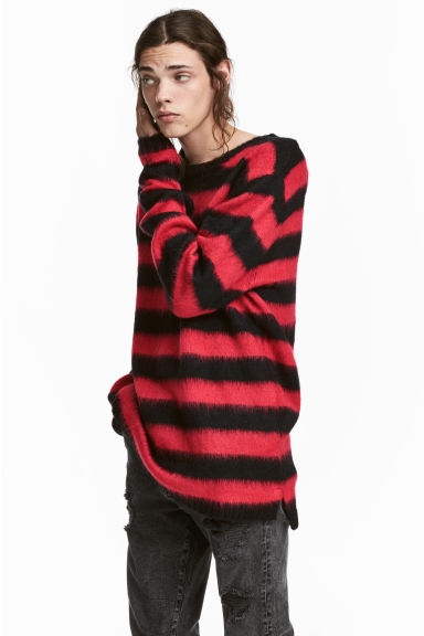 Knitted jumper - Red/Black striped - Men | H&M 1