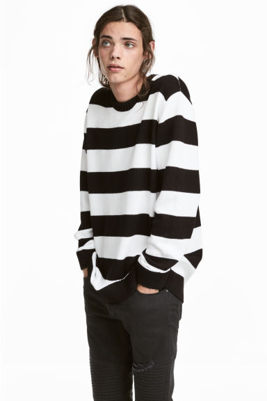 Knitted jumper - Black/White striped -  | H&M