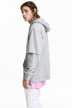 Double-sleeved hooded top - Grey marl -  | H&M 1