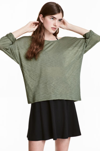 Jersey top - Dark khaki green - Ladies | H&M CN
