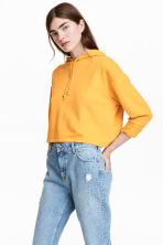 Cropped hooded top - Mustard yellow - Ladies | H&M 1