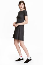 Ribbed jersey dress - Dark grey - Ladies | H&M CN 1