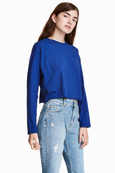 Cropped jersey top - Neon blue - Ladies | H&M 1
