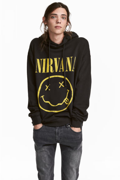 Printed hooded top - Black/Nirvana - Men | H&M 1