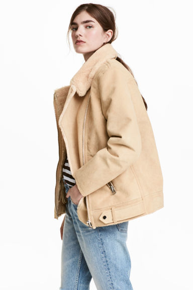 Imitation suede biker jacket - Beige - Ladies | H&M 1