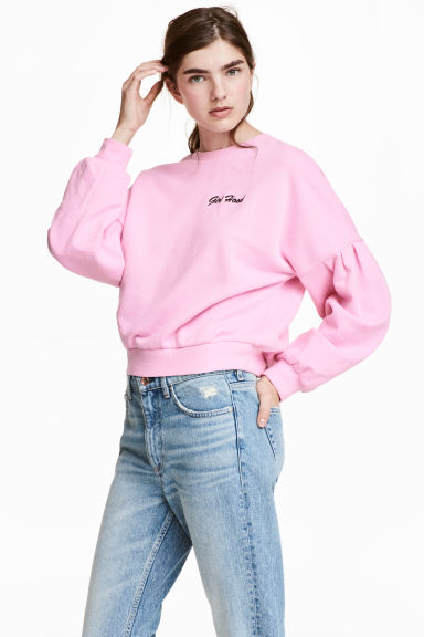 Short sweatshirt - Pink/Girl Hood -  | H&M