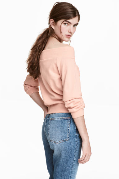 Off-the-shoulder top - Powder pink -  | H&M GB