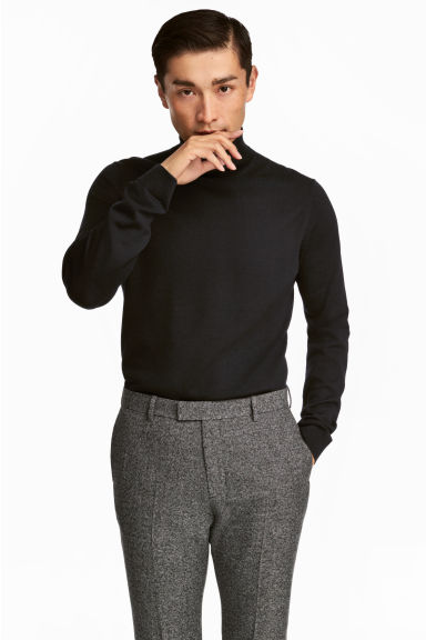 Merino wool polo-neck jumper Model