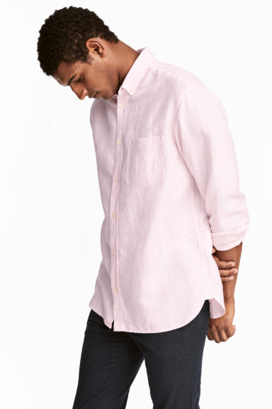 Linen-blend shirt Regular fit - Light pink - Men | H&M 1