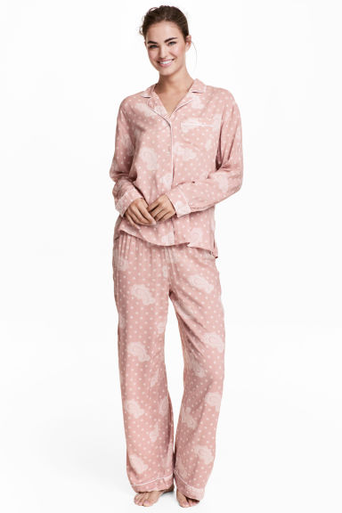 Pyjama shirt and bottoms - Pink/Patterned - Ladies | H&M IE 1