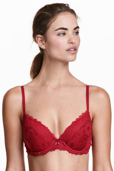 Lace push-up bra - Dark red - Ladies | H&M GB