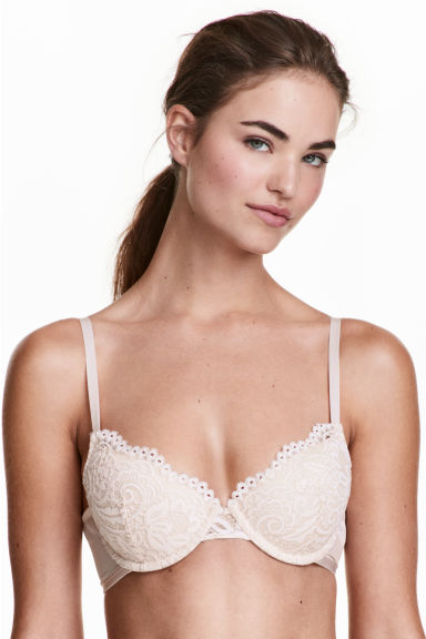 Padded lace bra - Natural white - Ladies | H&M 1