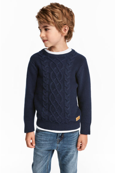 Knitted jumper - Dark blue - Kids | H&M CN 1