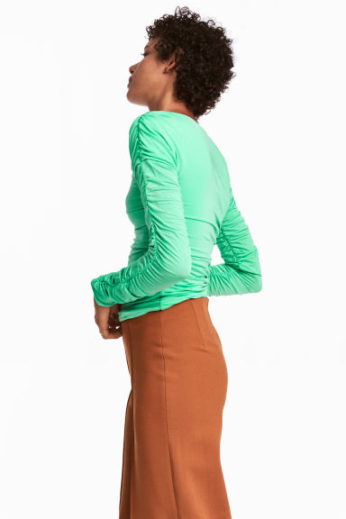Draped jersey top - Light green - Ladies | H&M GB