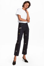 Jeans with beaded appliqués - Dark blue - Ladies | H&M 1