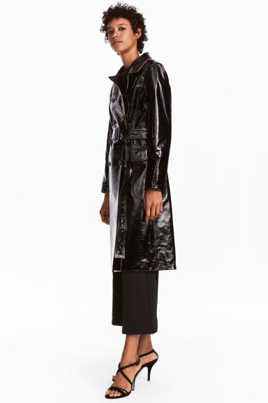 Double-breasted leather coat - Black - Ladies | H&M 1