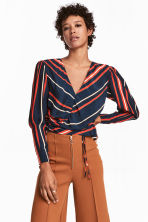 V-neck blouse with drawstrings - Dark blue - Ladies | H&M GB 1